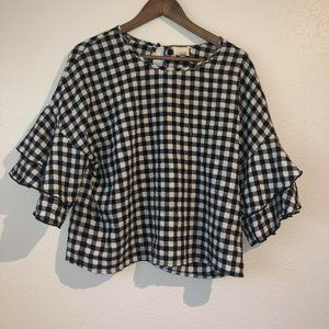Caution To The Wind Black White  Gingham Check 3/4